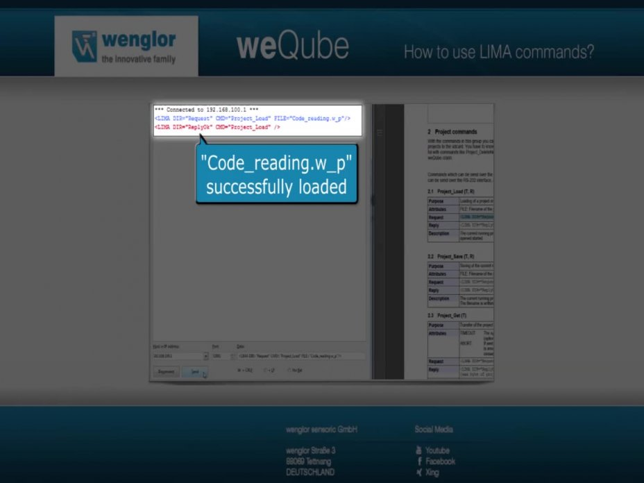 weQube Tutorial 31 - How to use LIMA commands to communicate with the weQube
